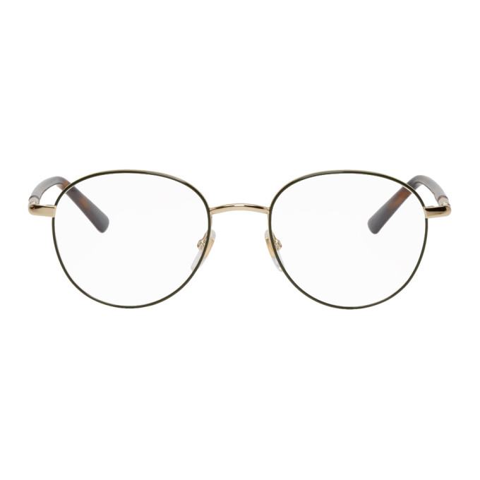 Gucci Gold and Green Round Outline Glasses, vendor code: 457001, photo 1