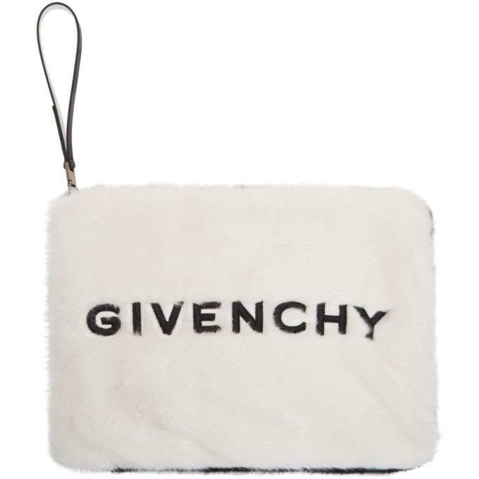 Givenchy Black and White Faux-Fur GV3 Pouch, vendor code: 457140, photo 1