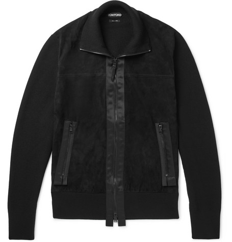 TOM FORD - Grosgrain-trimmed Wool And Suede Zip-up Cardigan - Black, vendor code: 456945, photo 1