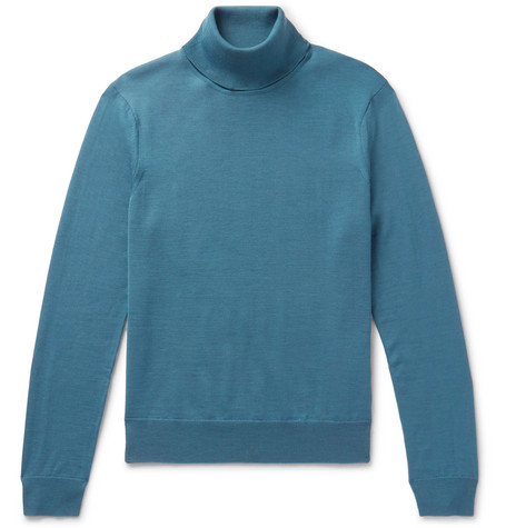 Sandro - Wool Rollneck Sweater - Blue, vendor code: 456203, photo 1