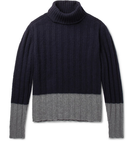MP Massimo Piombo - Colour-block Ribbed Wool Rollneck Sweater - Blue, vendor code: 456316, photo 1