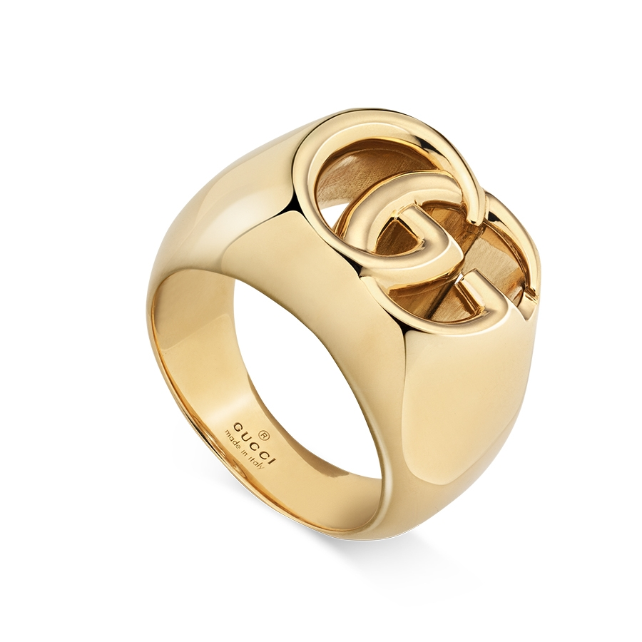 42ac16e2d7f1aa Gucci GG Running Yellow Gold Wide Double G 19mm Signet Ring, vendor code:  754713