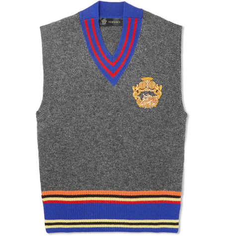 Versace - Appliquéd Striped Wool Sweater Vest - Gray, vendor code: 456913, photo 1