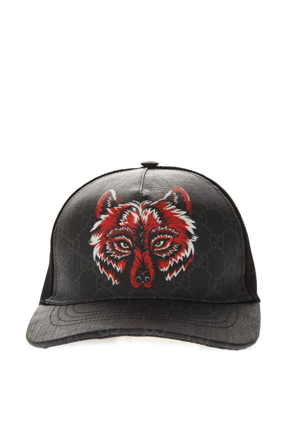 b418ec0e5cd Black Gg Supreme Baseball Hat With Wolf Print by Gucci buy at ...
