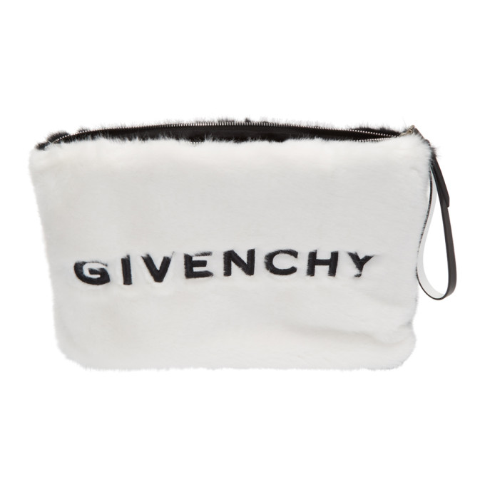 Givenchy Black and White Faux-Fur GV3 Pouch, vendor code: 457140, photo 3