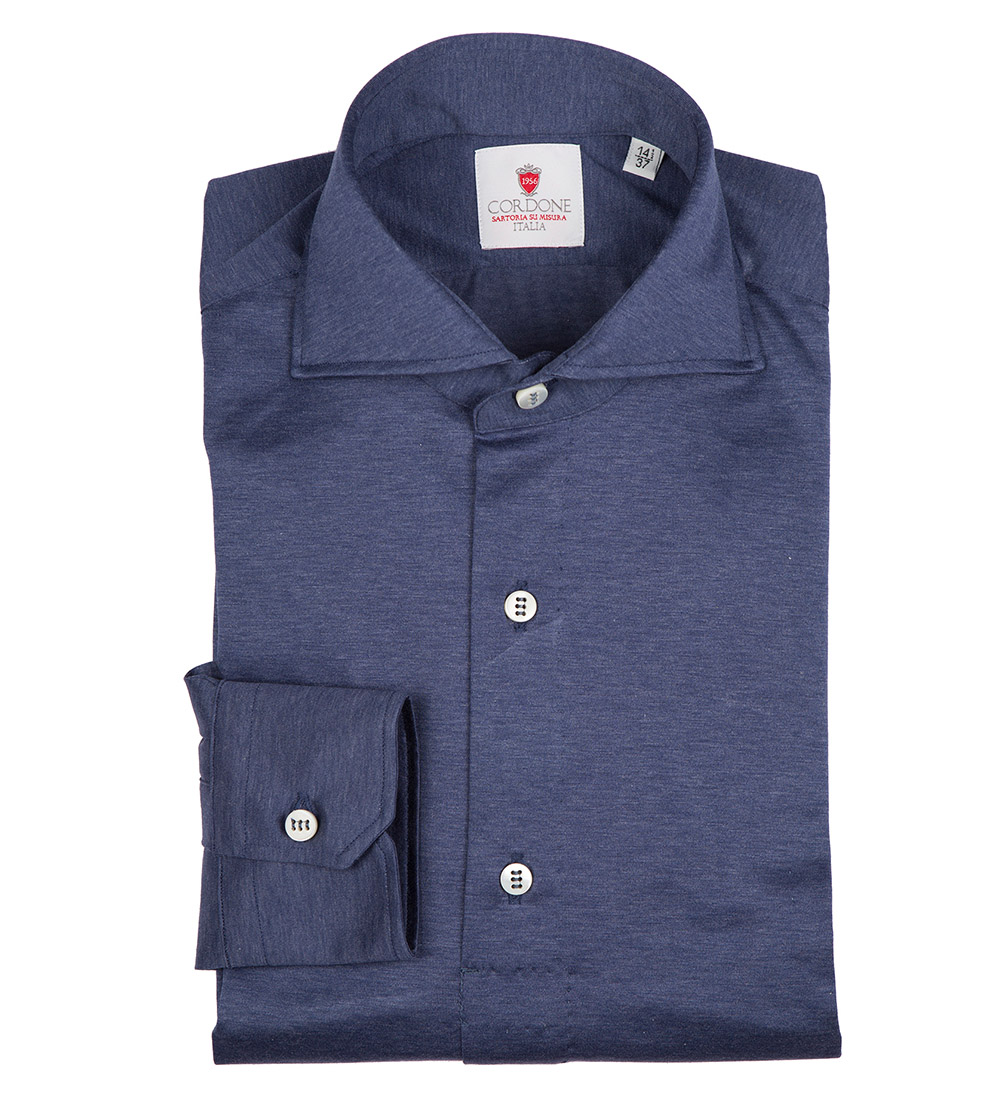 794a11dd1 Blue Jersey Cotton Handmade Polo Shirt by Cordone buy at SUNDAY30.COM