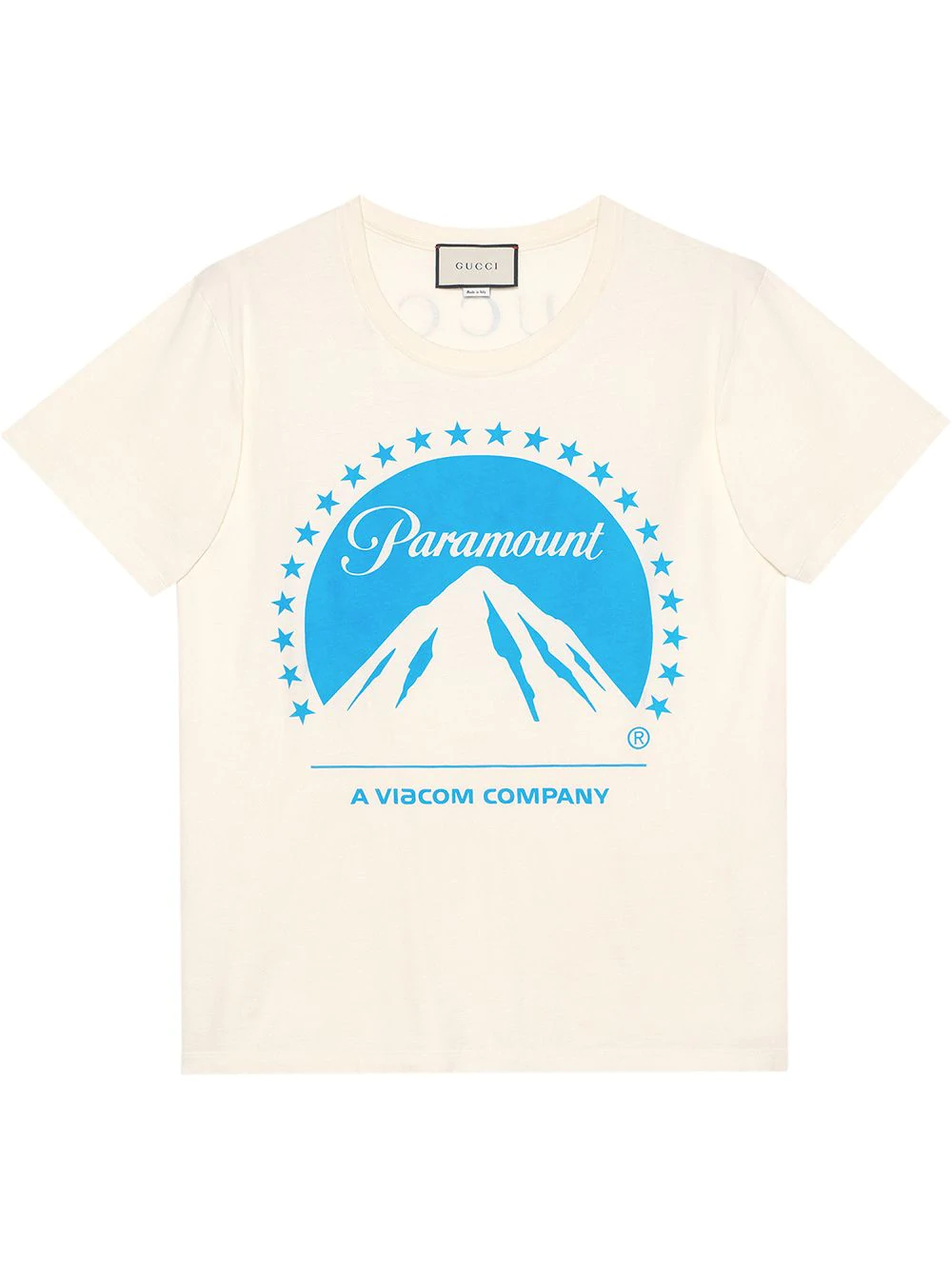 White Men's Oversize T shirt With Paramount Logo by Gucci