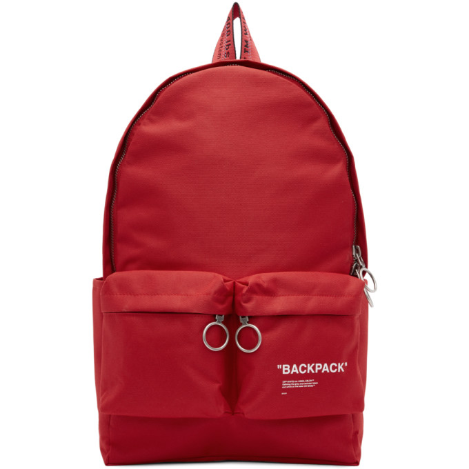 49c9a3b6e977 Off-White Red Quote Backpack, vendor code: 293313, ...