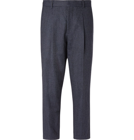 Mr P. - Navy Pleated Prince Of Wales Checked Wool And Cotton-blend Trousers - Navy, vendor code: 456628, photo 1