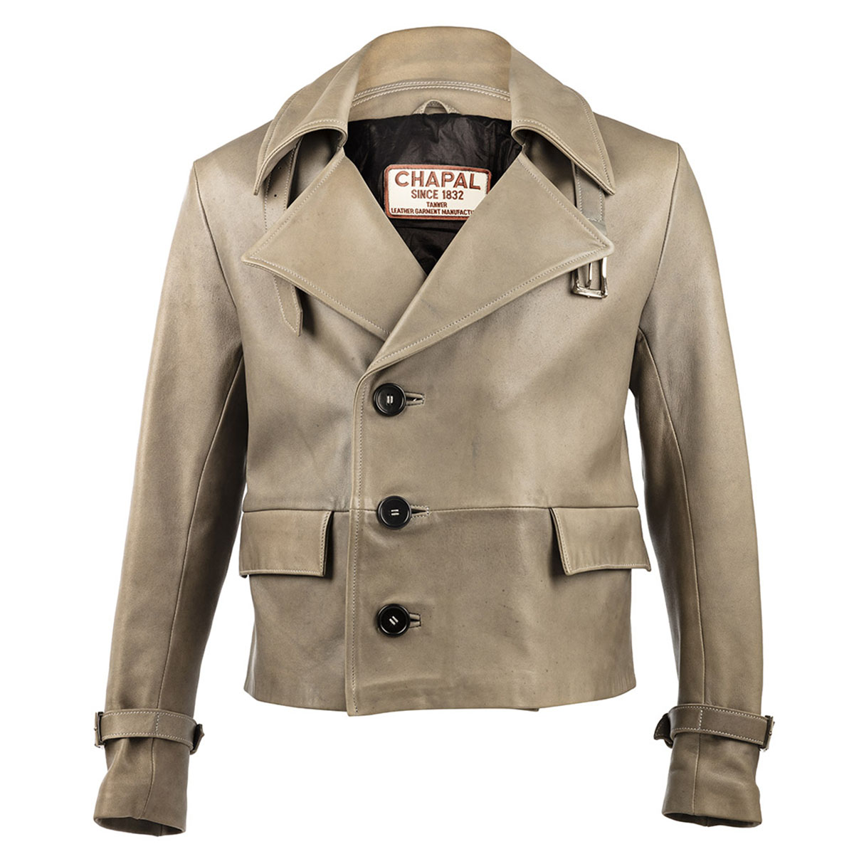 7f735d5ce23 Light Grey Caban Leather Jacket by Chapal buy at SUNDAY30.COM