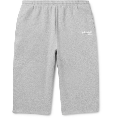 Balenciaga - Printed Mélange Fleece-back Cotton-blend Jersey Drawstring Shorts - Gray, vendor code: 456817, photo 1