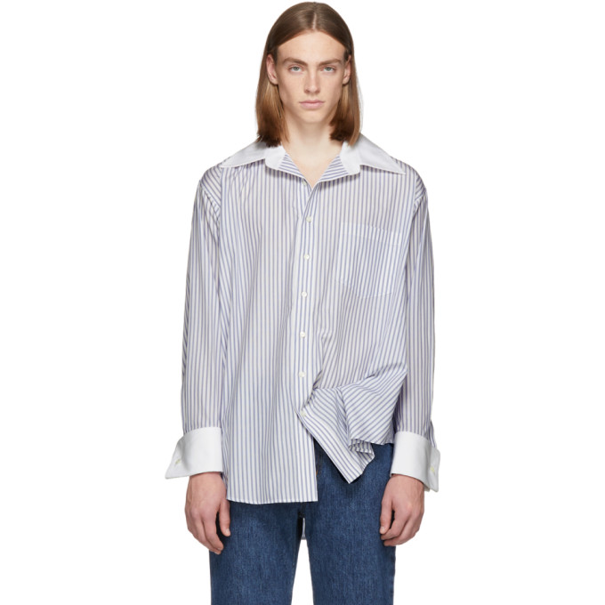 Matthew Adams Dolan White and Blue Oversized Oxford Shirt, vendor code: 457187, photo 1