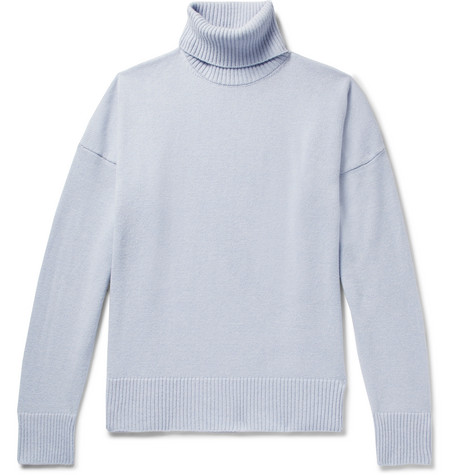 AMI - Oversized Merino Wool And Cashmere-blend Rollneck Sweater - Light blue, vendor code: 456119, photo 1