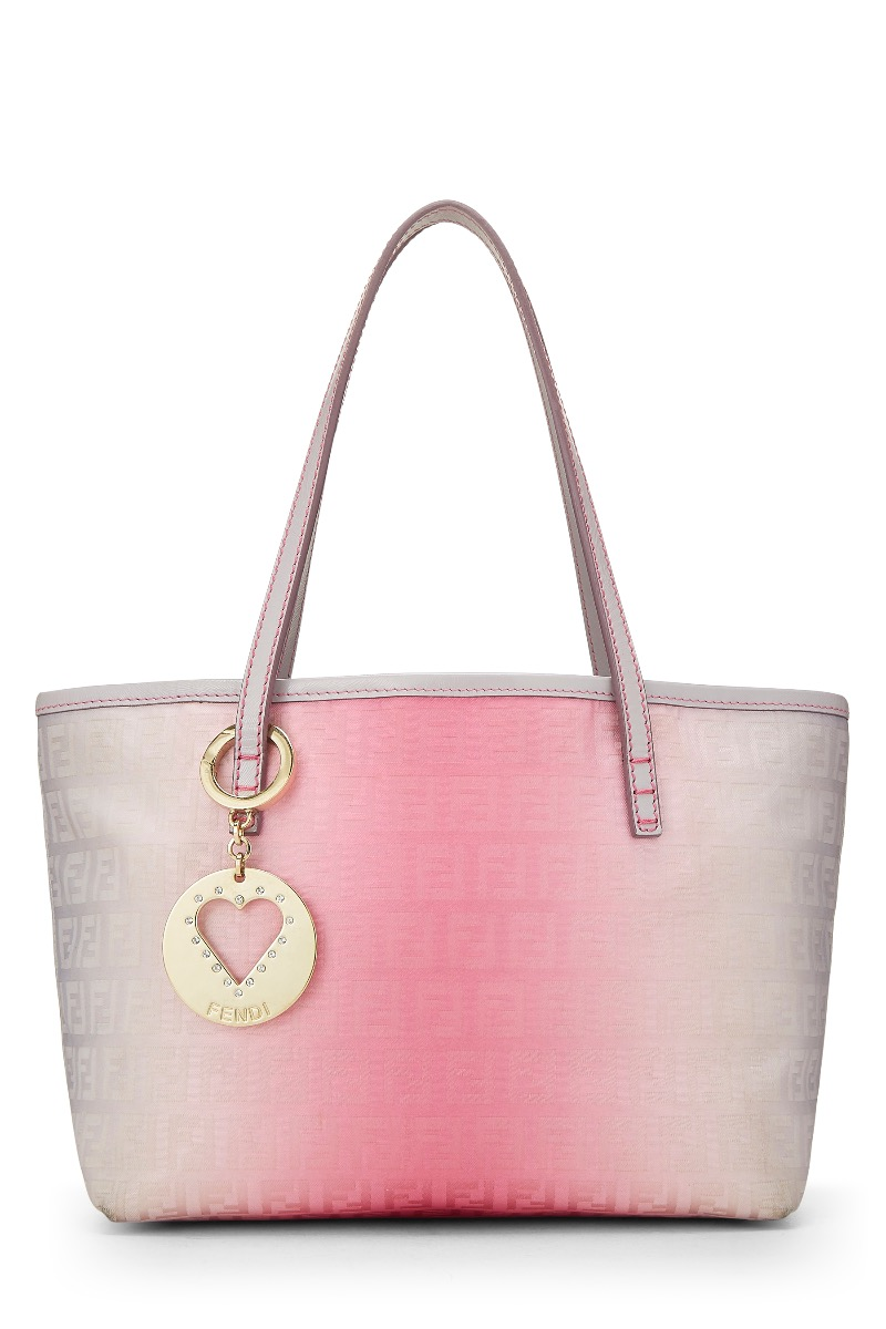 5f10a4118f16 White   Pink Nylon Zucca Ombré Roll Tote Mini by Fendi buy at ...