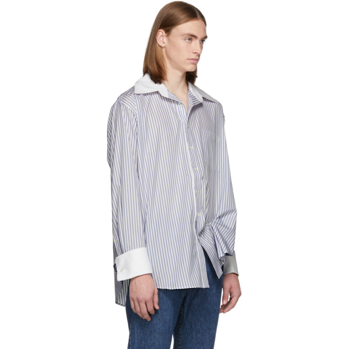 Matthew Adams Dolan White and Blue Oversized Oxford Shirt, vendor code: 457187, photo 2
