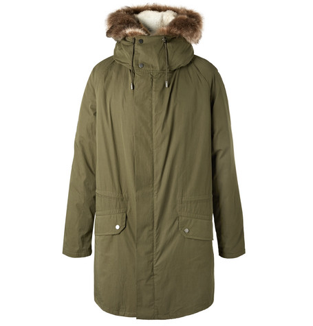 Yves Salomon - Cotton-blend Hooded Down Parka With Detachable Shearling Lining - Green, vendor code: 456675, photo 1