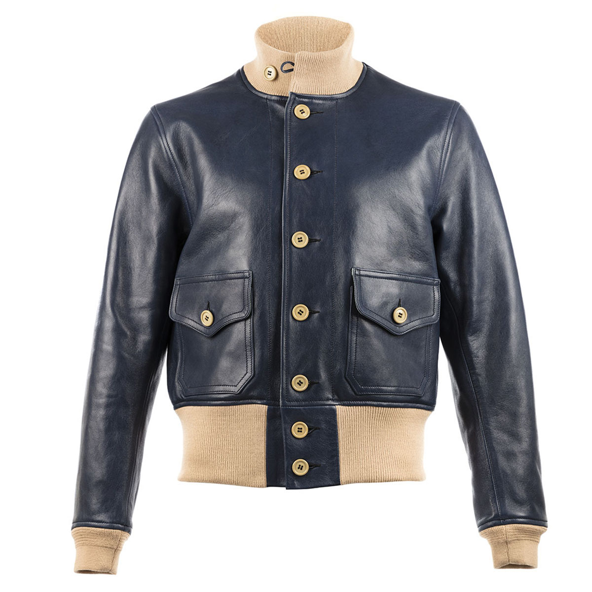 ec6d2c70bf2 Navy A1 Leather Jacket by Chapal buy at SUNDAY30.COM