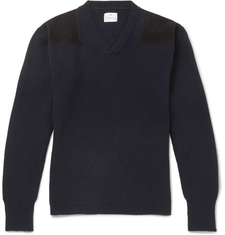 Kingsman - Merlin's Suede-panelled Ribbed Wool Sweater - Navy, vendor code: 455834, photo 1