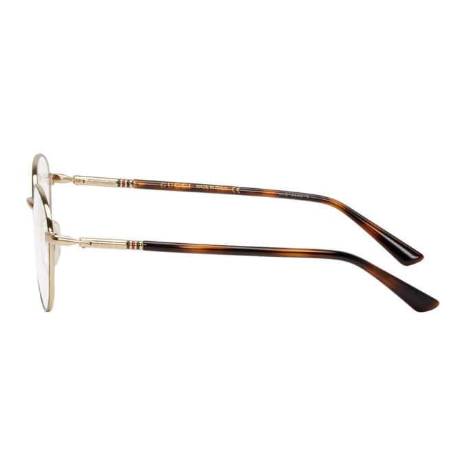 Gucci Gold and Green Round Outline Glasses, vendor code: 457001, photo 3