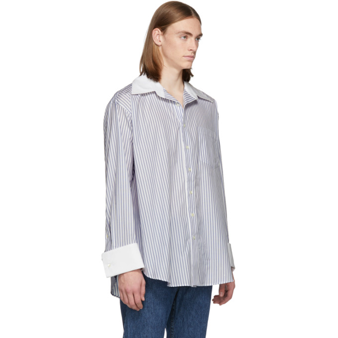 Matthew Adams Dolan White and Blue Oversized Oxford Shirt, vendor code: 457187, photo 4