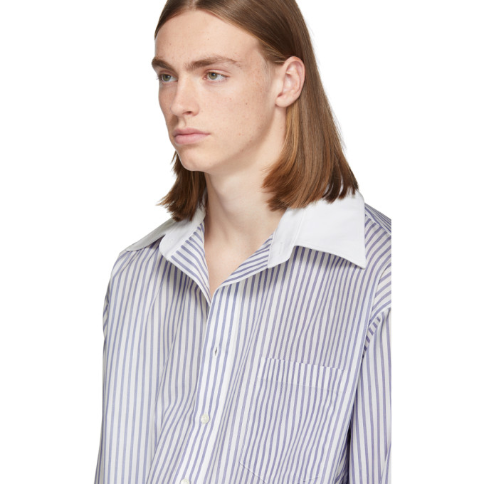 Matthew Adams Dolan White and Blue Oversized Oxford Shirt, vendor code: 457187, photo 5