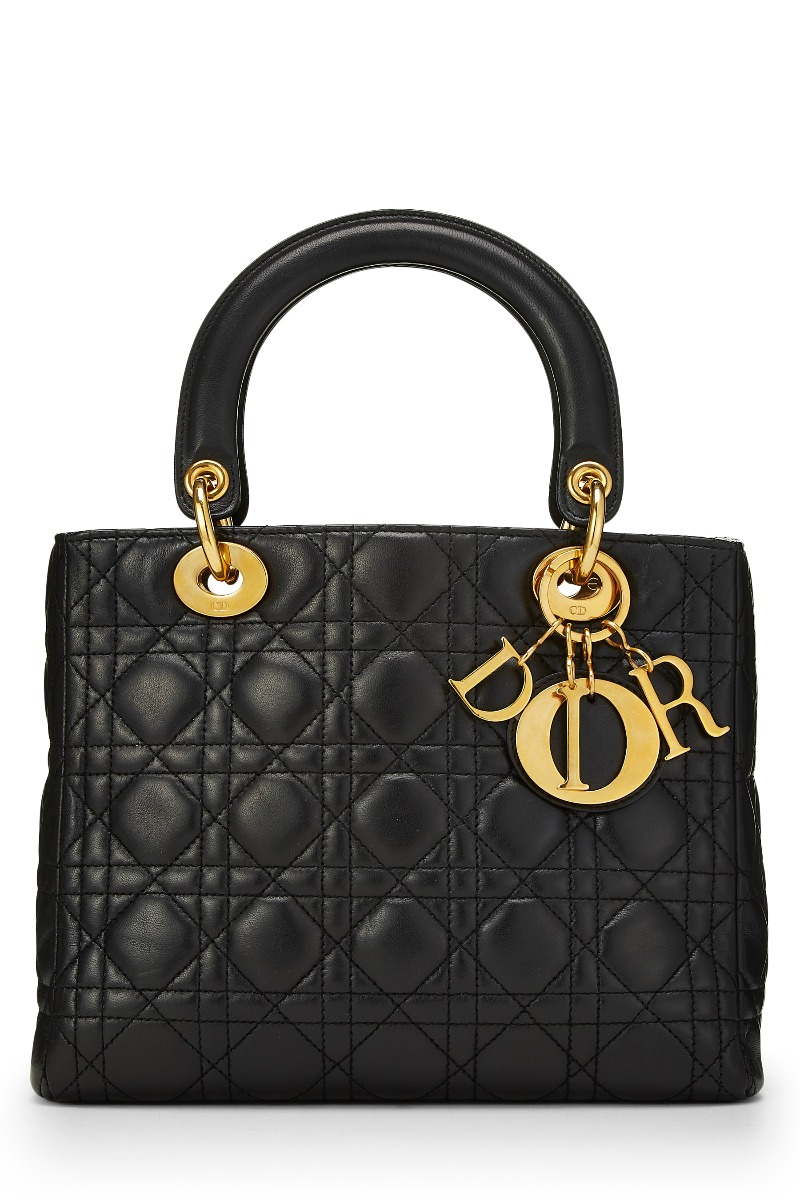 Black Cannage Quilted Lambskin Lady Dior Medium by Christian Dior ... a4f791a9a149d