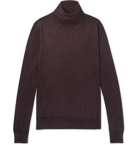 Canali - Wool And Silk-blend Rollneck Sweater - Burgundy, vendor code: 456057, photo 1