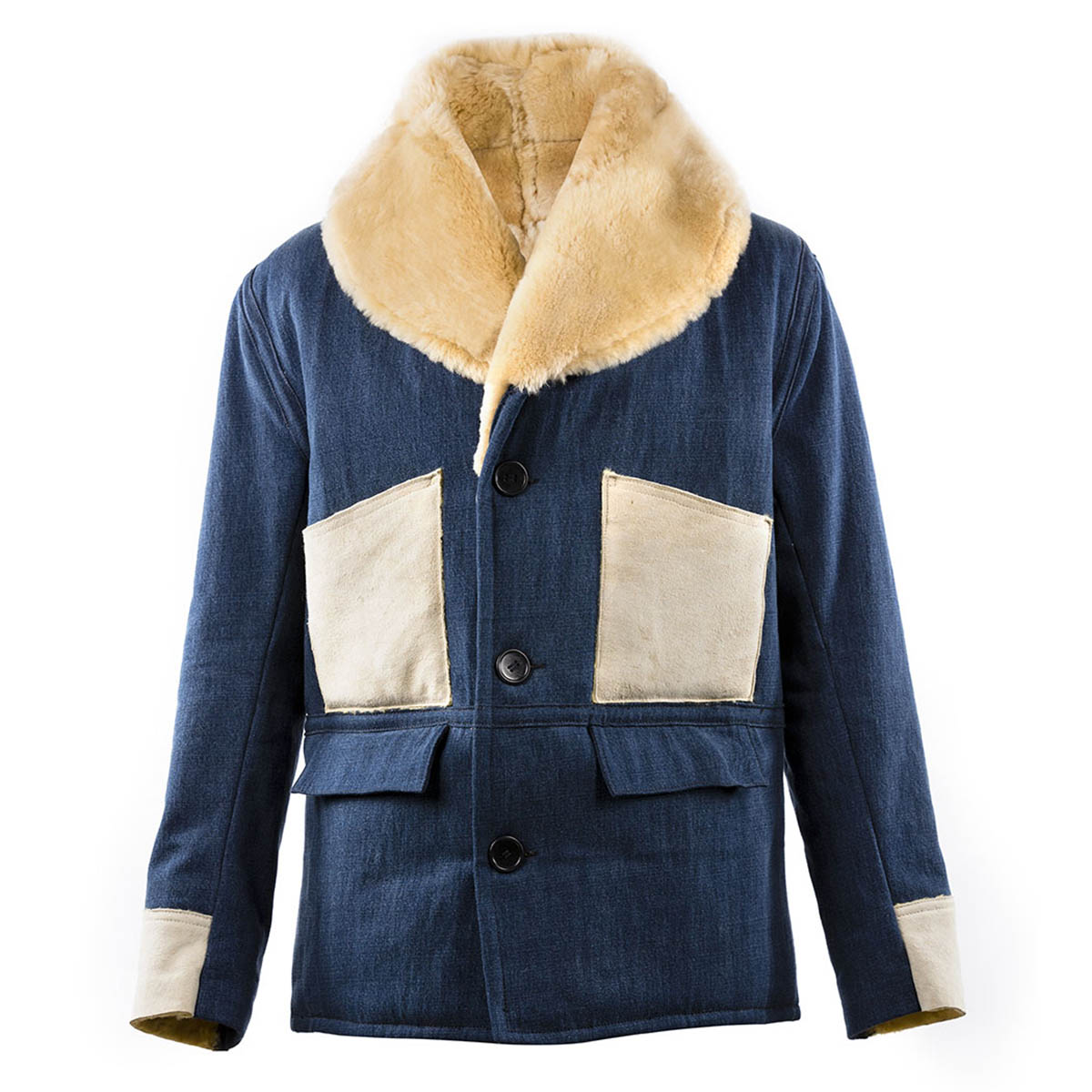 ea59678cb75 Blue Morrison Denim and Shearling Jacket by Chapal buy at SUNDAY30.COM