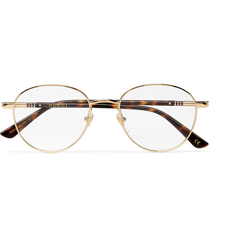 49f721ffbe Gucci - Round-frame Gold-tone And Tortoiseshell Acetate Optical Glasses -  Gold