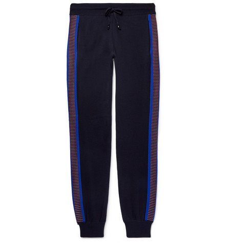 Missoni - Slim-fit Tapered Stripe-trimmed Wool Sweatpants - Midnight blue, vendor code: 456732, photo 1