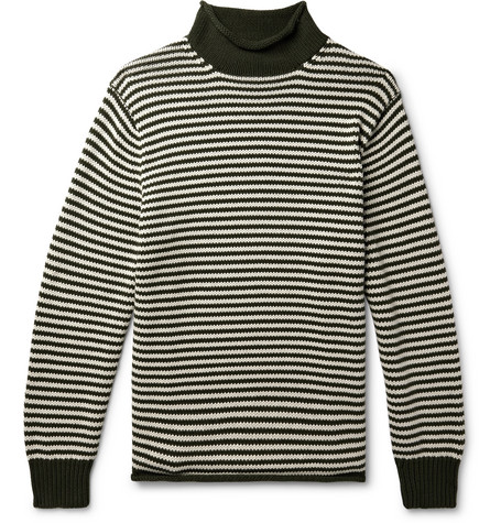 J.Crew - Striped Cotton Rollneck Sweater - Forest green, vendor code: 456384, photo 1