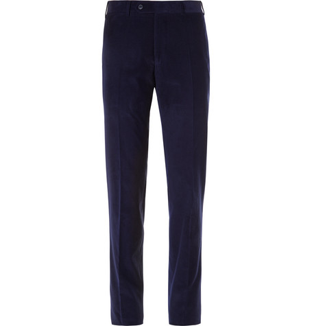 Canali - Midnight-blue Slim-fit Kei Cotton-corduroy Suit Trousers - Navy, vendor code: 456716, photo 1