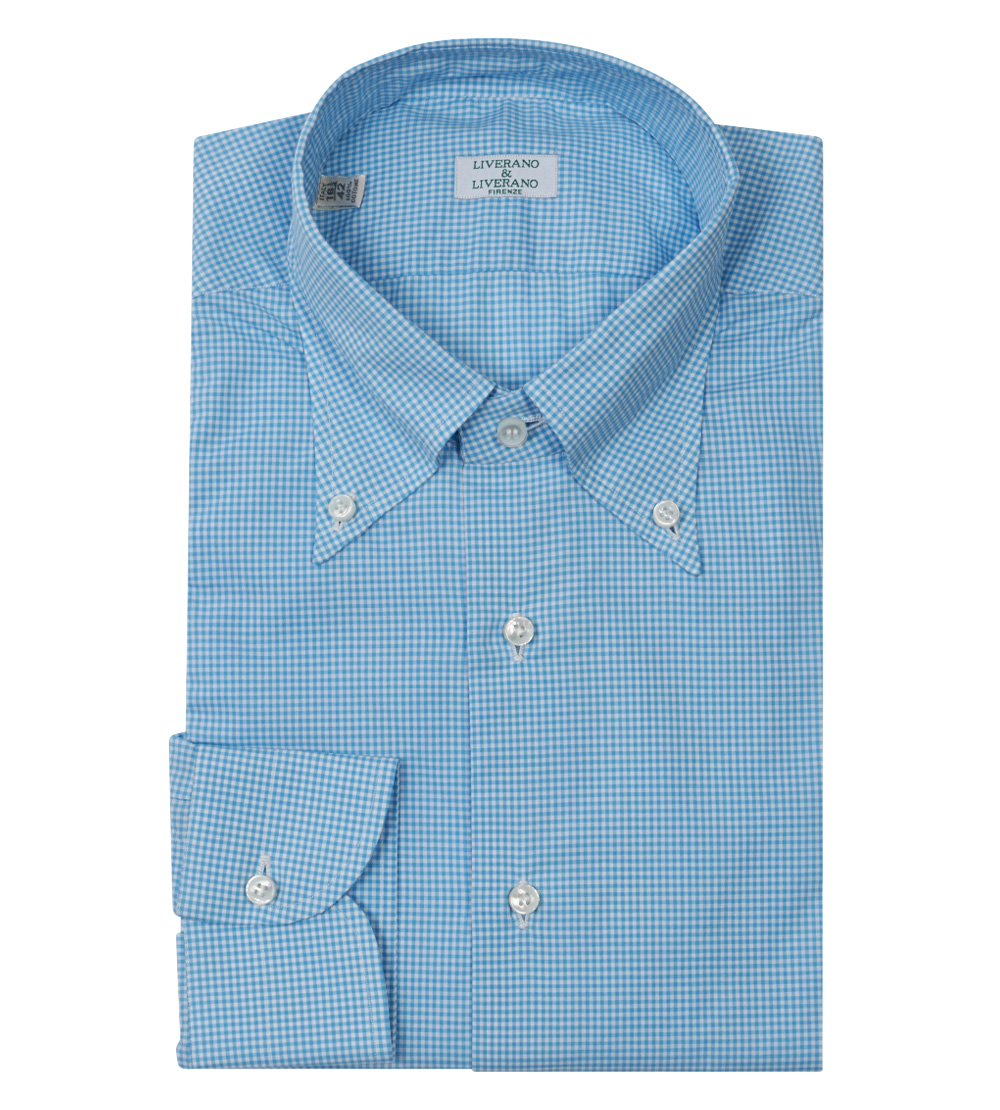 Blue Cotton Camicia Check Button-Down Shirt by Liverano   Liverano ... 01c84b8e2c4
